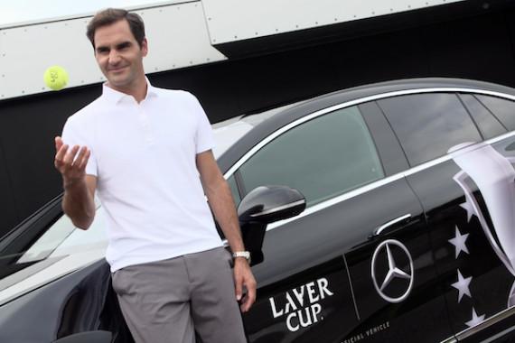 Schnittbilder von einem Foto-Terim mit Tennis-Legende Roger Federer im Vorfeld des Laver Cup 2021 in Boston.